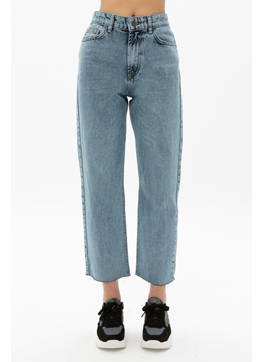 Female Project Mavi Kesik Paça Yüksek Bel Mom Jeans Mavi